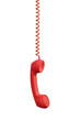 Leinwanddruck Bild - Red phone receiver hanging, isolated on white background