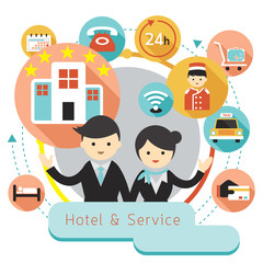 Hotel Accommodation Amenities Services Icons Heading