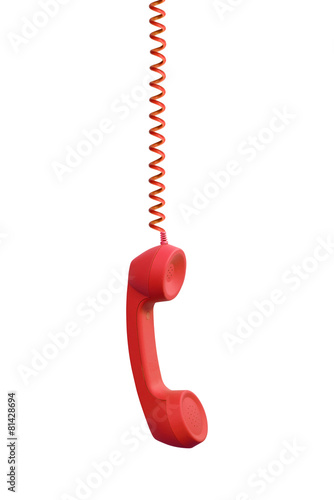 Red phone receiver hanging, isolated on white background - 81428694