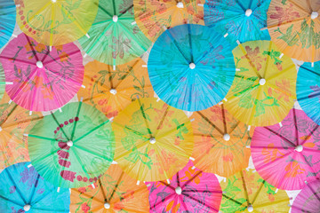 Colorful background of paper umbrellas