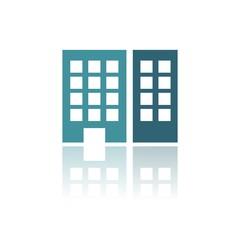 Icono edificio oficinas color FB reflejo