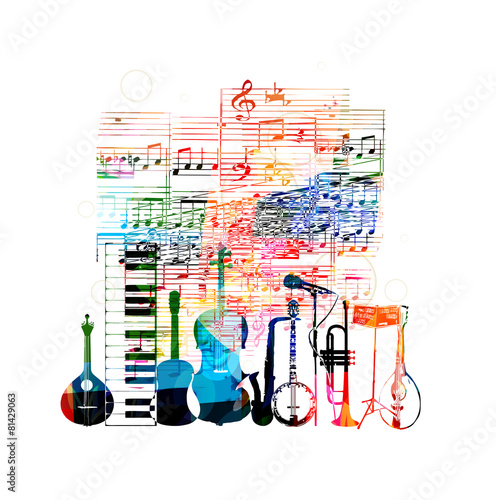 Colorful music instruments design - 81429063