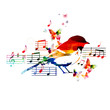 Colorful music design with bird - 81429258