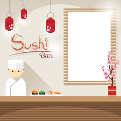Japanese Chef at Sushi Counter with Blank Sign