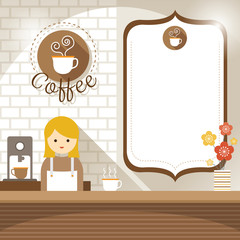 Girl at Coffee Shop Counter with Blank Sign
