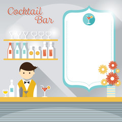 Bartender at Counter Cocktail Bar with Blank Sign