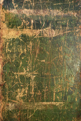 Old green cracked wood background, rustic wooden surface