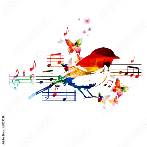 Colorful music design with bird