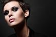 Fashion brunette woman with short hair cut - 81429425