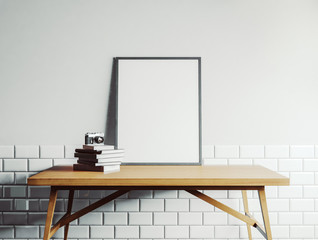 Canvas template on the table in white room
