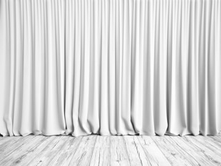 White curtains and wood floor background