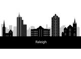 Cartoon skyline silhouette of the city of Raleigh, North Carolin