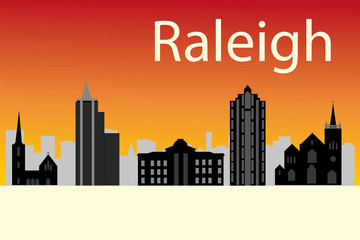 Cartoon skyline silhouette of the city of Raleigh, North Carolin