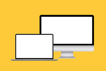 Computer monitor and laptop on yellow background