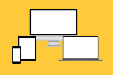 Blank screens on yellow background