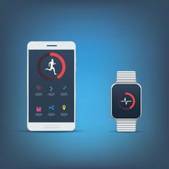 Fitness tracker application user interface kit. Set of icons for