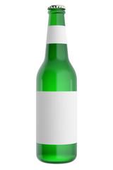 Full glass beer bottles with blank label. 3d illustration
