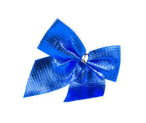 Blue bow made of ribbon.