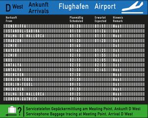 Nachbildung Ankufttafel Flughafen
