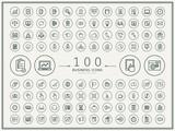 Fototapety 100 business round icons set