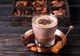 cocoa drink or hot chocolate and cocoa beans