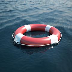 Lifebuoy in the sea, ocean. 3d illustration