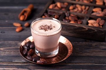 cocoa drink and cocoa beans