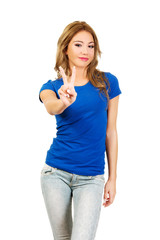 Young woman showing victory sign.