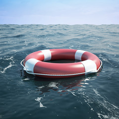 Lifebuoy in the sea, ocean. 3d illustration