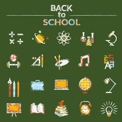 School, Education, Icons Set Chalk Drawing Style