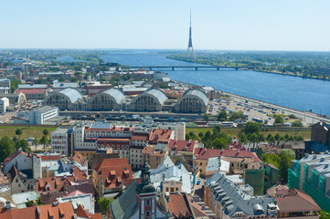 View of old and new Riga from the St. Peter's Church, Latvia.