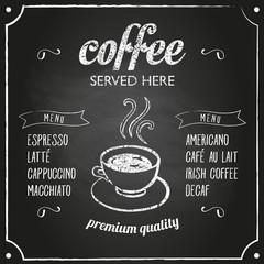 Retro sign with coffee menu