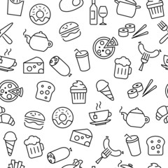 Seamless Pattern with Food Icons