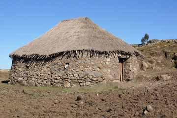 Wohnhäuser im Hochland von Amhara, Äthiopien, Afrika