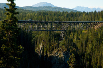Kuskulana bridge built  1910 seen from a view point, Alaska