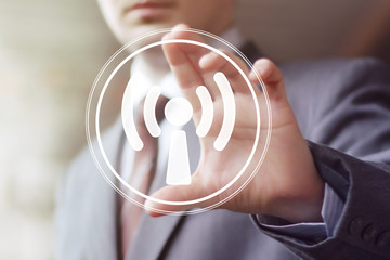 Business button Wifi connection icon signal web