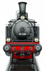 Nostalgische Dampflokomotive, freigestellt