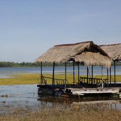Fischerdorf am Ufer des Mekong