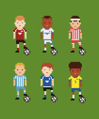 pixel art style vector set - football soccer players in