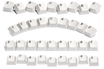 set word subscribe computer keyboard isolated white background