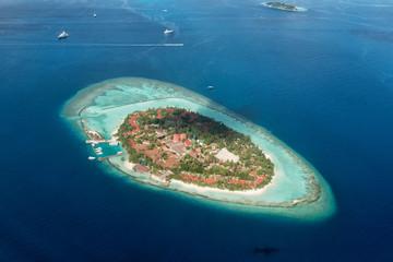 maldives aerial view landscape