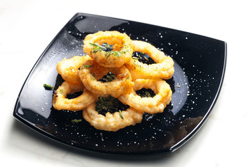 fried cuttlefish rings in batter