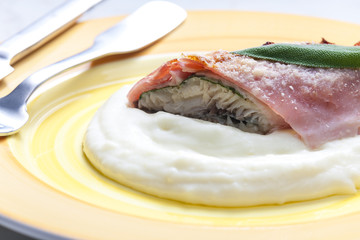 fillet of trout with sage roasted in the Prague Ham with mashed