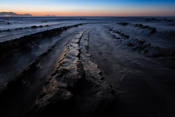 Long exposure image on Barrika beach, Basque Country, Spain
