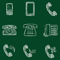 Vector Set of Chalk Telephone Icons