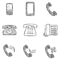Vector Set of Sketch Telephone Icons