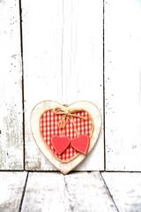 Grußkarte - Karo Herz - rot/weiß