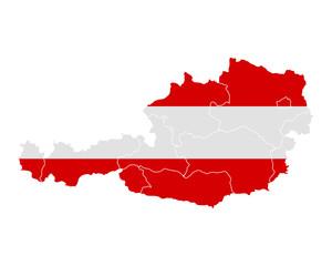 Karte und Fahne von Österreich