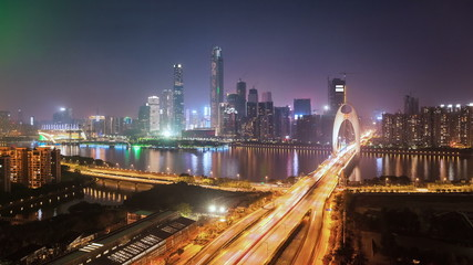 time lapse of zhujiang new town at night in guangzhou