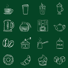 Vector Set of Chalk Coffee Icons